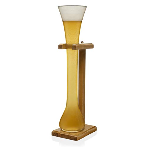 (Libbey Craft Brews Half-Yard of Ale Beer Glass with Wood Stand, 32-ounce)