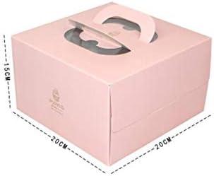 HOUHOUNNPO Cajas para Pasteles, Caja de empaque Cuadrada de 6 Pulgadas para Hacer Mousse de Queso portátil Paquete de Diez (Rosa): Amazon.es: Hogar