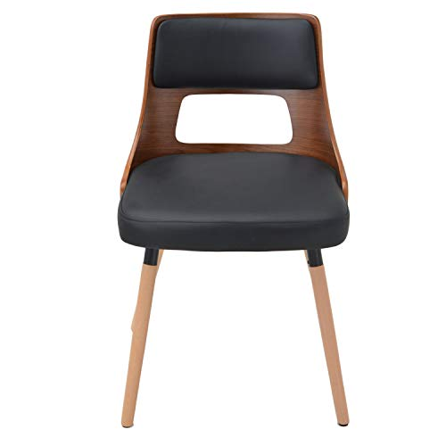 Price comparison product image Modern-Depo Bentwood Accent Dining Chair Upholstered Leisure Chair for Home Living Room,  Black