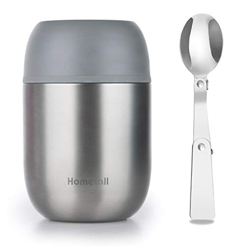 Hometall Food Jar Lunch Containers Thermos, Vacuum Insulated Stainless Steel, Lunch Box for Adult Kids with Folding Spoon 16 oz