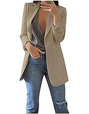 Elegante blazer voor dames, met lange mouwen, effen blazer, business, slim fit, revers, gebreide jas, damesjas, herfst, dameskleding, dunne zomerjas, licht, lange blazer, sportieve blouson jas