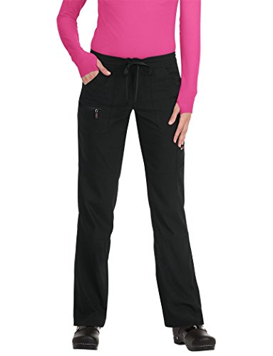 KOI Lite Women's Peace Drawstring Scrub Pant Medium Petite Black (Petite Drawstring)