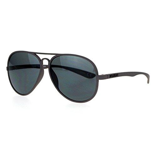 Kush Mens Rubberized Matte Plastic Frame Aviator Sunglasses - Sunglasses Aviator Plastic