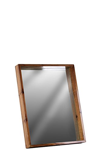 Urban Trends Wood Rectangular Wall Mirror with Protruding Frame SM Varnished Wood Finish Brown, Small (Living Urban Mirror Collection)