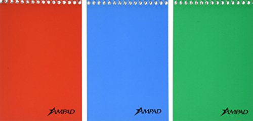 Ampad Recycled Wirebound Notebook (Ampad Efficiency Pocket Notebook, Recycled, 4 X 6 Inches, Single Wire, Top Open, Assorted Covers,3 Notebooks per Pack, Red/Blue/Green (45-094))