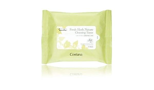 coréana - Fresh Herb Nature Cleansing Tissue 15 Sheets - Toallitas limpiadoras démaquillantes - cosméticos, etnia coreana: Amazon.es: Belleza