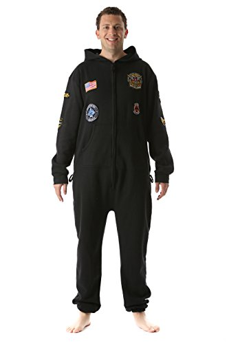 #followme 6454-BLK-L Jumpsuit Adult Onesie with Patches Pajamas -
