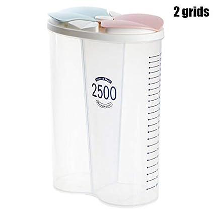 langlebig gesund transparenter Abdeckung Getreidebohnen Getreidebeh/älter Sioyo Getreidebeh/älter Kunststoff Aufbewahrungsbeh/älter mit F/ächern Trockenfutter 2 grids