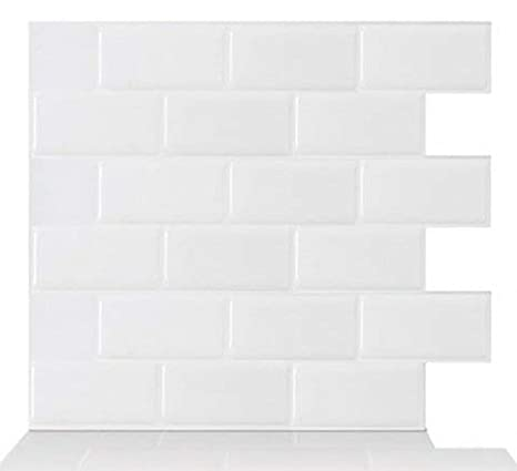 Tic Tac Tiles - Premium Anti Mold Peel and Stick Wall Tile in Subway White (10, 12'x12') 12x12) .