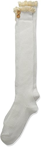 Jefferies Socks Girls' Lace and Buttons Boot Knee High, Ivory, Small