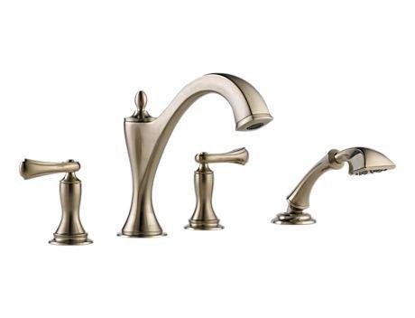 UPC 034449650724, Brizo T67485-BNLHP Charlotte Roman Tub With Hand Shower Trim, Less Handles, Brushed Nickel