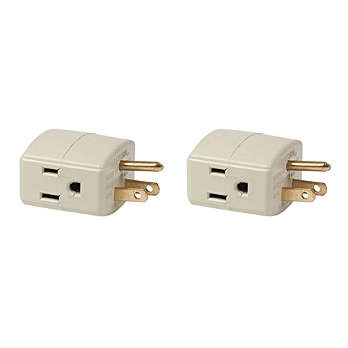 (2 pack) 3 Outlet Grounded Plug Cube Taps UL