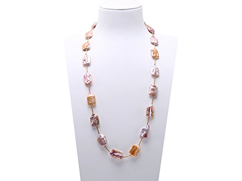 Necklace Baroque Double Pearl Strands (JYX Baroque Lavender Cultured Freshwater Pearl Necklace Station Sweater Necklace 32