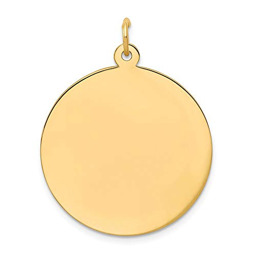 (14k Yellow Gold .018 Gauge Circular Engravable Disc Pendant Charm Necklace Round Plain Fine Jewelry Gifts For Women For Her)