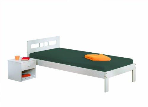 Links 20900220 Bett 90x190 cm Einzelbett Holzbett Massivholzbett weiß lackiert Kiefer massiv