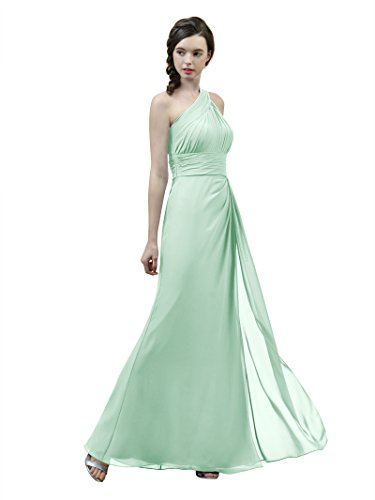 Alicepub Long Pleated Chiffon Bridesmaid Dress One Shoulder Formal Party Evening Prom Gown For Women, Mint Green, US12