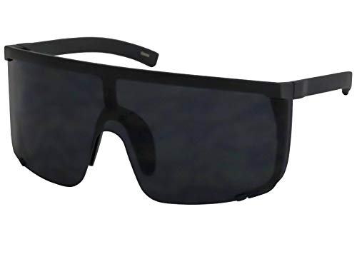 Elite Unisex Oversized Super Shield Mirrored Lens Sunglasses Retro Flat Top Matte Black Frame (Black) (Shield Sunglasses)