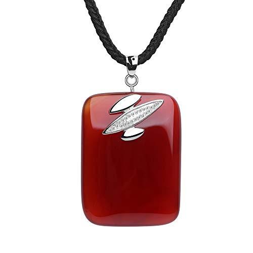 (iSTONE Unisex Genuine Gemstone Stone Red Agate Semi Precious Stone Pendant Necklace for Men Women)