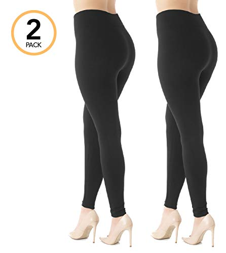 Lined Shorts Thermal (Conceited Fleece Lined Leggings for Women - LFL 2 Pack Black - Small/Medium)