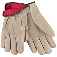 MCR Safety 3150L Premium Grade Split Leather Insulated Driver Mens Gloves with Red Fleece Lined and Straight Thumb, Tan, Large, 1-Pair by MCR Safety