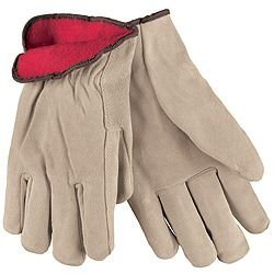 MCR Safety 3150L Premium Grade Split Leather Insulated Driver Men's Gloves with Red Fleece Lined and Straight Thumb, Tan, Large, 1-Pair by MCR Safety -