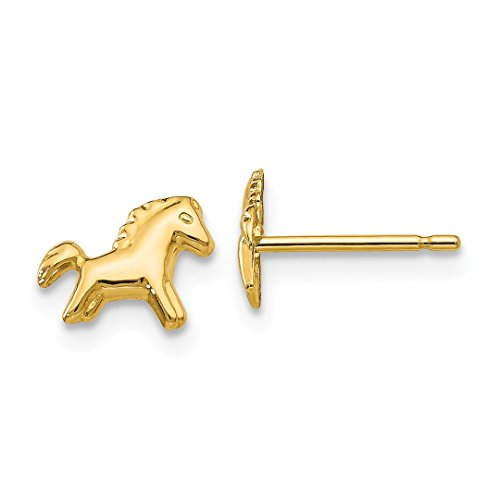 14k Yellow Gold Horse Post Stud Ball Button Earrings Animal Fine Jewelry For Women Gift Set -