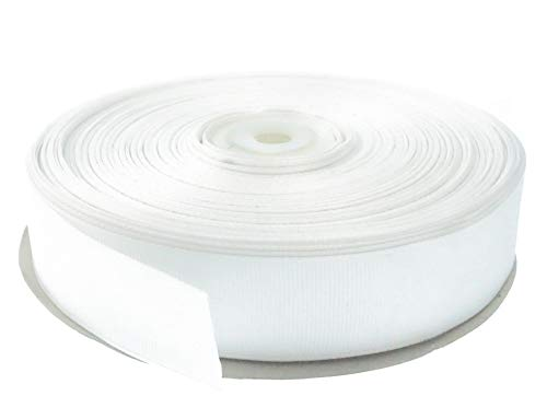 White 1 Inch Grosgrain Ribbon. 50 Yards Gift Wrapping Spool by Drency - Grosgrain White