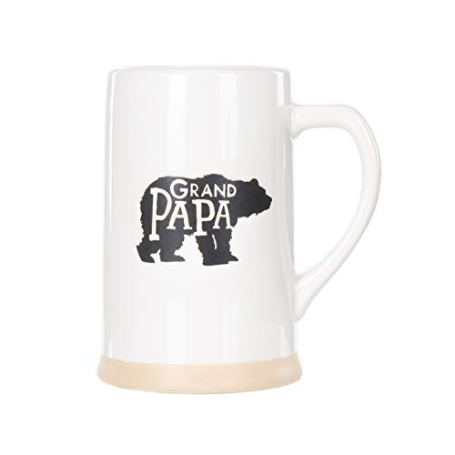 Grand Papa Bear Black On White 16 ounce Ceramic Stoneware Beer Stein Mug