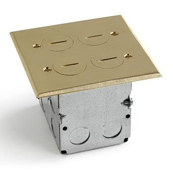 Lew Electric Swb-4-2p Floor Box & Brass Cover 2 Gang by LEW