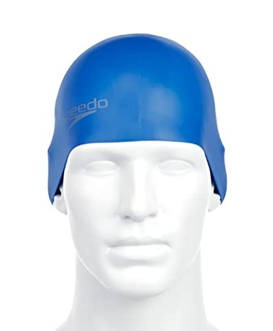 SPEEDO Plain Moulded Silicone Adult Cap, Blue, One Size