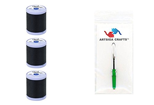 Coats & Clark Sewing Thread Dual Duty XP Fine Polyester Thread 225 Yards (3-Pack) Black Bundle with 1 Artsiga Crafts Seam Ripper S940-0900-3P
