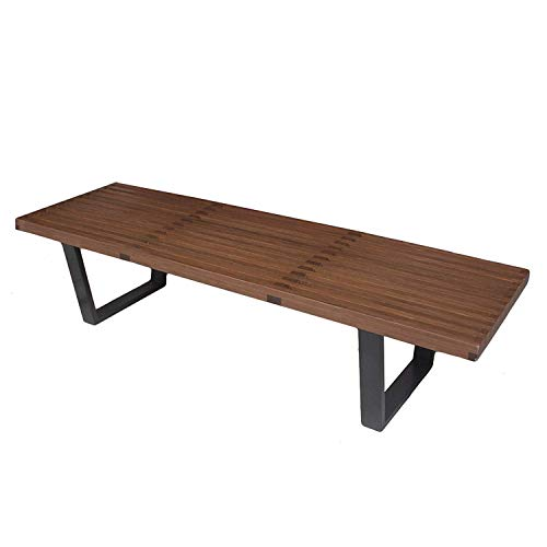 George Nelson Platform Bench with Hardwood Top Finish and Black Painted Solid Wood Legs, Easy and Simple Assembly in Canada- 2 Colors of Finishes (Natural, Walnut) and 3 Sizes (4, 5 and 6 Feet)