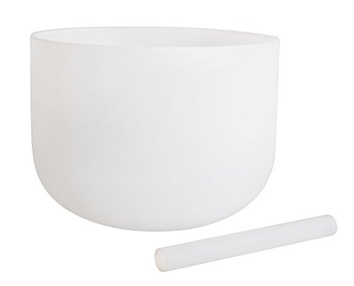 White Crystal Singing Bowl Perfect Pitch Note C 432Hz Brown Third Eye Chakra 12 inch Best Perfect Quality Sound & Material Crystal Glass Mallet Included Singing Bowls Meditation -