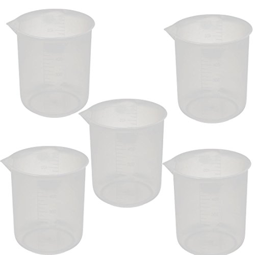 uxcell 5 Pcs 500mL School Laboratory Transparent Plastic Liquid Container Measuring Cup Beaker by uxcell