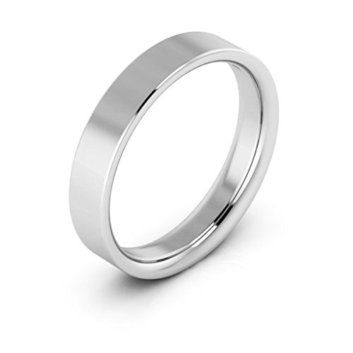 Platinum men's and women's plain wedding bands 4mm flat comfort fit, 12 by i Wedding Band