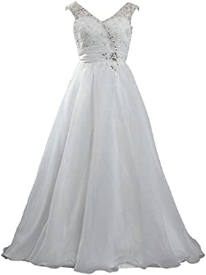 ANTS Women's A Line Lace Organza Long Wedding Dresses No Train