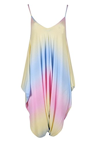 - Oops Outlet Womens Ladies Cami Strappy Sleeveless Harem Baggy Lagenlook Jumpsuit Playsuit Rainbow