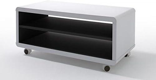 123wohndesign Tv Lowboard Tv Board Tv Tisch Jeff7 Weiss Schwarz Mit Rollen Amazon De Kuche Haushalt