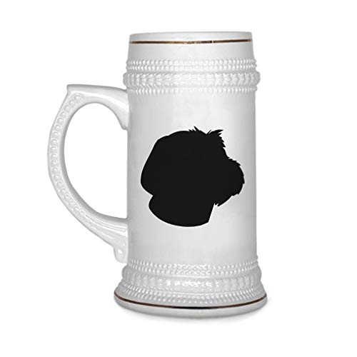 Custom Beer Mug Wirehaired Pointing Griffon Silhouette Ceramic Drinking Glasses Beer Gifts White 18 OZ Design Only