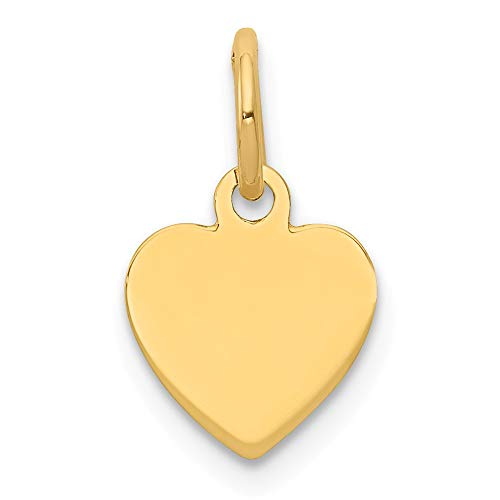 14k Yellow Gold .009 Gauge Engravable Heart Disc Pendant Charm Necklace Simple Shaped Plain Fine Jewelry Gifts For Women For Her