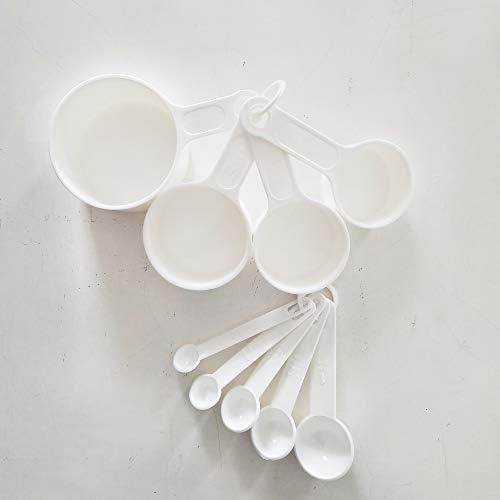 Messbecher und Löffel, tragbar, weiß, rund, 9-teiliges Set, Backutensilien-Set für Flüssigkeits- und Trockenmessung, stabiles Set, Werkzeug, Backgriff, Teelöffel, Küche
