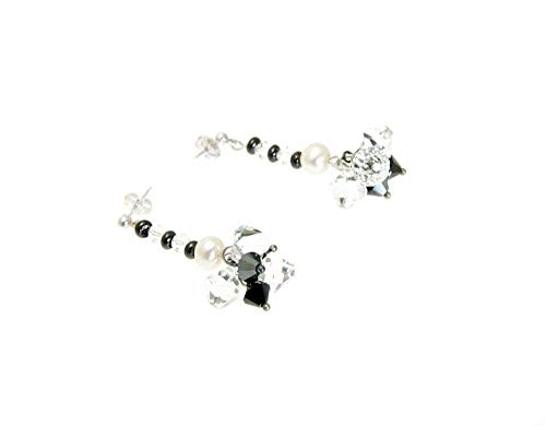 Cluster Earrings White Freshwater Pearls Swarovski Black and Clear Crystals 1.25