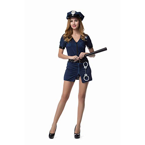 LVLUOYE Role Playing Blue Police Uniform, Halloween Police Playing Uniform,M -
