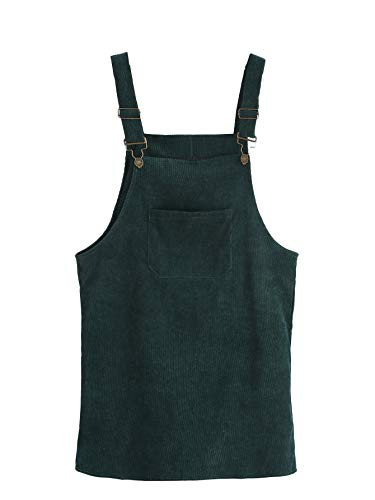 Milumia Women's Plus Size Straps A-line Plain Corduroy Bib Pocket Overall Dress Green 4XL