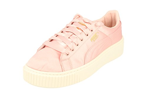 Puma Basket Platform Satin Womens Trainers 365719 Sneakers Shoes Shell Gold White 01