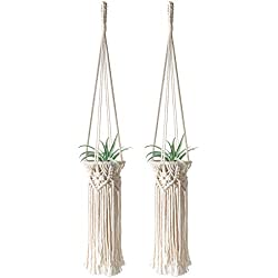 Mkono 2 Pcs Mini Macrame Air Plant Holder Tillandsia Hanger Hanging Flameless Tea Lights Nursery Home Decor Mobiles Decoration