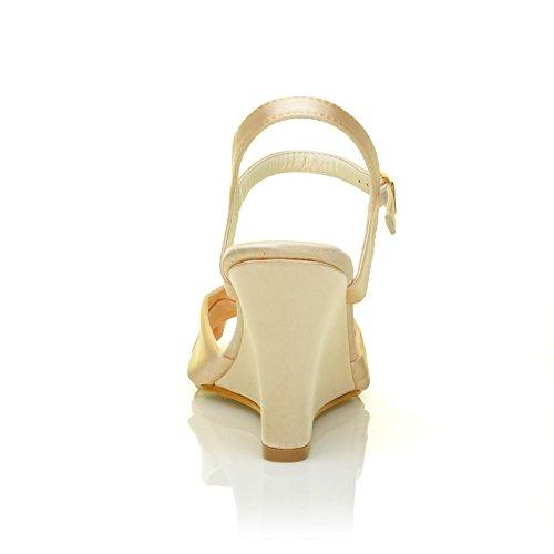 Angel Champagne Gold Satin Wedge High Heel Strappy Bridal Shoes Qk3vJM