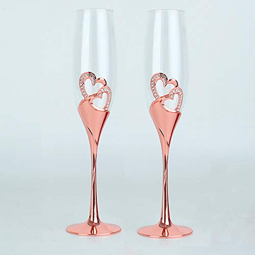 Cleaky 2 Pack Champagne Flutes Wedding Accessories Sparkling True Love Glass Flutes Goblets for Wedding, Cocktail, Party, Gathering