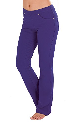 PajamaJeans Women's Bootcut Stretch Knit Denim Jeans, Purple, X-Small / 0-2