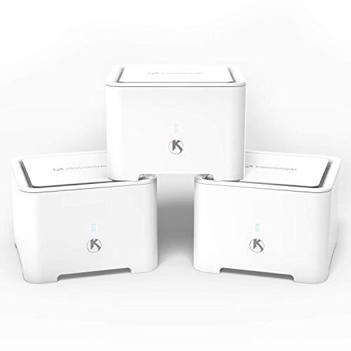 🥇 KingSignal Sistema WiFi de malla para todo el hogar AC1200 de doble banda Router de 3 unidades para un alto rendimiento sin costuras